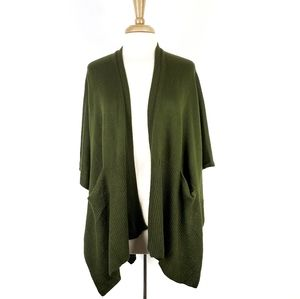 Echo Dark Green Ponch Open Knit Cardigan